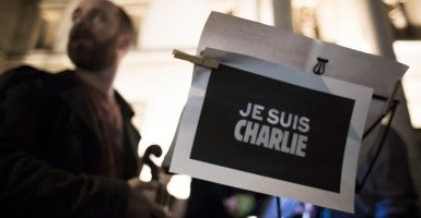 """A placard reads, """"Je Suis Charlie,"""" which translates as, """"I Am Charlie."""" (Photo: Mark Esper/Polaris/Newscom)"""