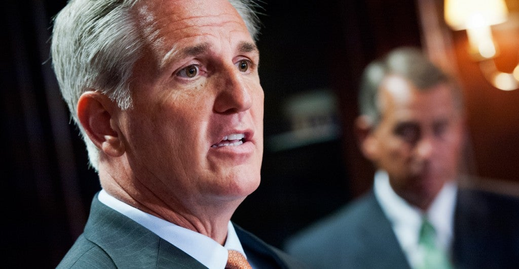 House Majority Leader Kevin McCarthy, R-Calif., left, and Speaker John Boehner, R-Ohio. (Photo: Tom Williams/CQ Roll Call/Newscom)