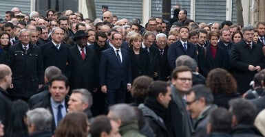 World leaders including Francois Hollande, Angela Merkel, Benjamin Netanyahou, Mahmoud Abbas and Matteo Renzi march in Paris in tribute to victims of terrorism, following the attacks against satirical newspaper Charlie Hebdo and Hyper Casher store. (Photo: Lafite/Newscom)