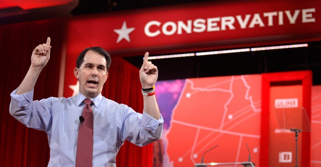 Gov. Scott Walker, R-Wis., at CPAC. (Photo: Mike Theiler/EPA/Newscom)