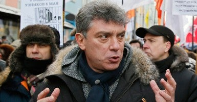 Russian opposition leader Boris Nemtsov during an opposition rally in Moscow in February 2014. (Photo: Yuri Kochetkov/EPA/Newscom)