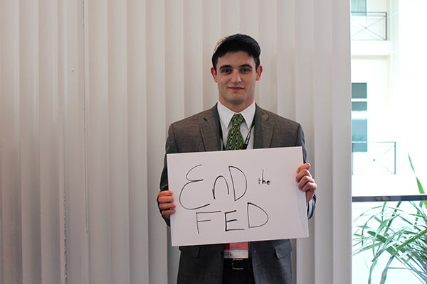 Mike Battey, 21, cares most about ending the Federal Reserve. (Photo: Kelsey Harris)