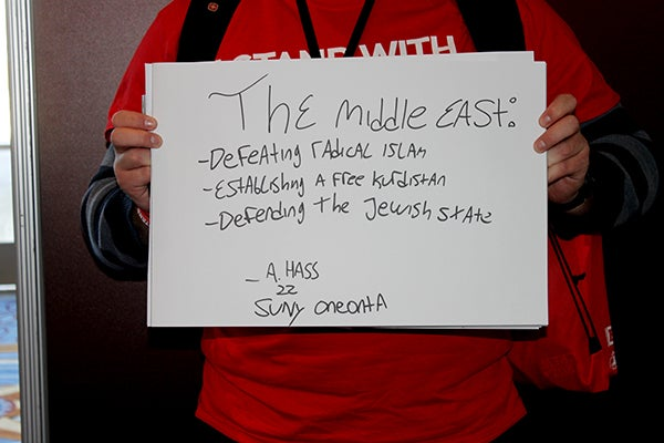 Aaron Hass, 22, worries most about the future of the Middle East. (Photo: Kelsey Harris)
