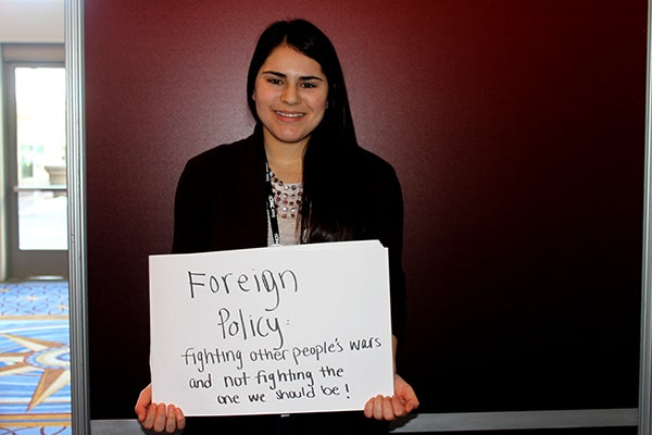 Briana Jamshid, 20, pushes for smart foreign policy. (Photo: Kelsey Harris)