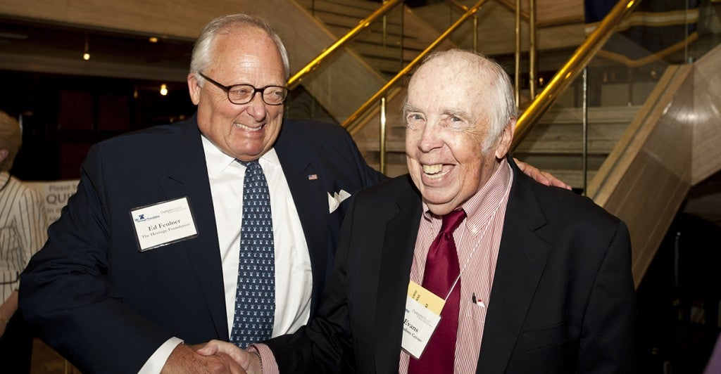 Former Heritage Foundation president, Ed Fuelner with Stan Evans at a Heritage Foundation dinner in his honor in 2011. (Photo: Chas Geer)