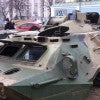 A Russian-made armored personnel carrier captured by Ukrainian government forces ne