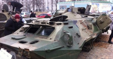 A Russian-made armored personnel carrier captured by Ukrainian government forces near Luhansk. (Photo: Valentyn Onyshchenko)