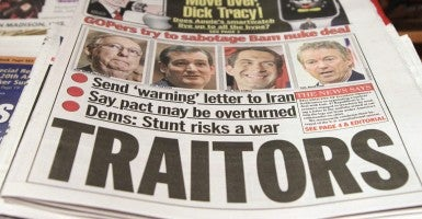 """The New York Daily News accuses Republican Sens. Mitch McConnell, Ky., Ted Cruz, Texas, Tom Cotton, Ark., Rand Paul, Ky., and their """"traitor"""" GOP colleagues of trying to """"sabotage"""" President Obama's nuclear talks with Iran. (Photo: John Angelillo/UPI/Newscom)"""