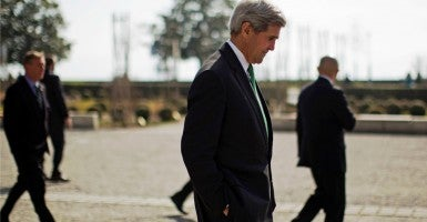 Secretary of State John Kerry walks around during a break in negotiations with Iran's Foreign Minister Javad Zarif (not pictured) over Iran's nuclear program. (Photo: Brian Snyder/Reuters/Newscom)