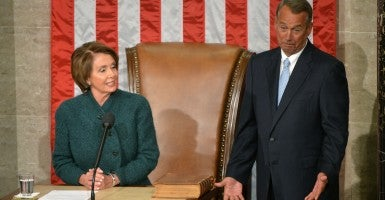 House minority leader Nancy Pelosi, D-Calif., and House Speaker John Boehner, R-Ohio. (Photo: Kevin Dietsch/UPI/Newscom)