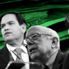 Four of the Senate's six presidential prospects, from left:  Elizabeth Warren of Massachusetts, Marco Rubio of Florida, Bern