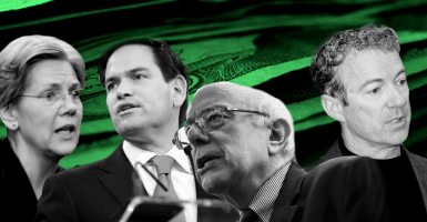 Four of the Senate's six presidential prospects, from left:  Elizabeth Warren of Massachusetts, Marco Rubio of Florida, Bernie Sanders of Vermont and Rand Paul of Kentucky. (Photo illustration by Kelsey Harris for The Daily Signal; photos by Newscom)