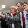 "New Jersey Gov. Chris Christie campaigns with his wife Mary Pat (right) at the ""Tell It Like It Is"" town hall meeting at New Hampshire's Londonderry Lions Club. (Photo: Keiko Hiromi/Polaris/Newscom)"