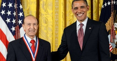 President Obama awards the National Medal of Technology and Innovation to Dr. Gholam Peyman.(Photo: Michael Reynolds/EPA/Newscom)
