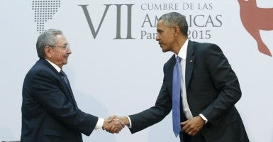 PresidentObama shakes hands with Cuba's President Raul Castro. (Photo: Jonathan Ernst/Reuters/Newscom)