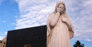 A sculpture of Jesus weeping was erected by St. Joseph's Catholic Church near the memorial for the Oklahoma City bombing. (Photo: Brad Wilson/Flickr/CC BY-NC-ND 2.0)