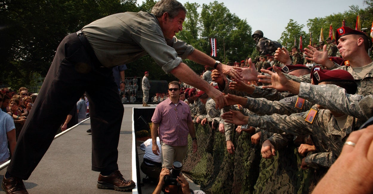George W. Bush shakes hands with soldiers after finishing his speech  July 4, 2006, during his visit to Fort Bragg, N.C. (Photo: Andrew Craft/UPI/Newscom)