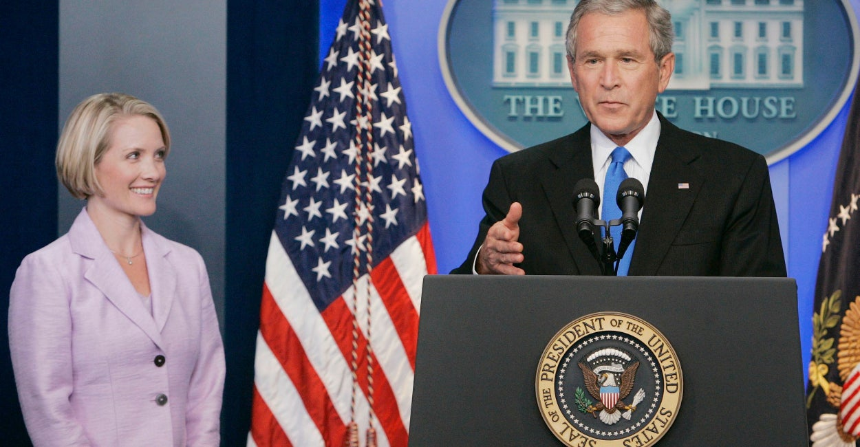 George W. Bush announces that Dana Perino will take over the post of White House Press Secretary in 2007. (Photo: Larry Downing/Reuters/Newscom)