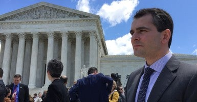 Ryan T. Anderson, The Heritage Foundation's William E. Simon senior research fellow in American principles and public policy, at the Supreme Court. (Photo: Jamie Jackson)