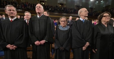 Chief Justice John G. Roberts and Supreme Court justices Anthony M. Kennedy, Ruth Bader Ginsburg, Stephen  Breyer and Sonia Sotomayor. (Photo: Mandel Ngan - Pool via CNP/Newscom)