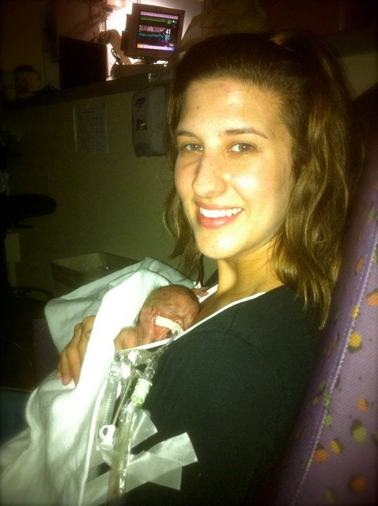 Lindsay Franks and her son, Pierce, as a newborn (Photo: Lindsay Franks)