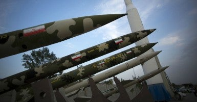 Iranian missiles are displayed in the War museum in Tehran. (Photo: Morteza Nikoubazl/ZUMA Press/Newscom)