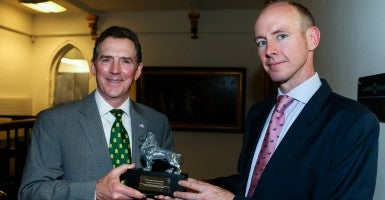 Heritage Foundation President Jim DeMint receives the Edmund Burke Award from Daniel Hannan, member of European Parliament and secretary general of Alliance of European Conservatives and Reformists. (Photo courtesy of AECR)