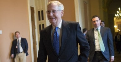 Senate Majority Leader Mitch McConnell, R-Ky., called a rare Sunday session to resolve a dispute over the Patriot Act. (Photo: Kevin Dietsch/UPI/Newscom)