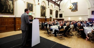 Heritage Foundation President Jim DeMint speaks to the Alliance of European Conservatives and Reformists in London. (Courtesy of Burlison Photography)