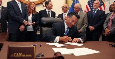 Gov. Brian Sandoval signed legislation making Nevada the fifth state to enact education savings accounts. (Photo: Steve Keegan/Reuters/Newscom)