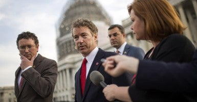Sen. Rand Paul, R-Ky., speaks to reporters at the U.S. Capitol. Paul blocked a short-term extension of the USA Patriot Act, including the bulk collection of Americans' phone records, prompting the Senate's passage of an alternative, the USA Freedom Act. (Photo: Kevin Dietsch/UPI/Newscom)