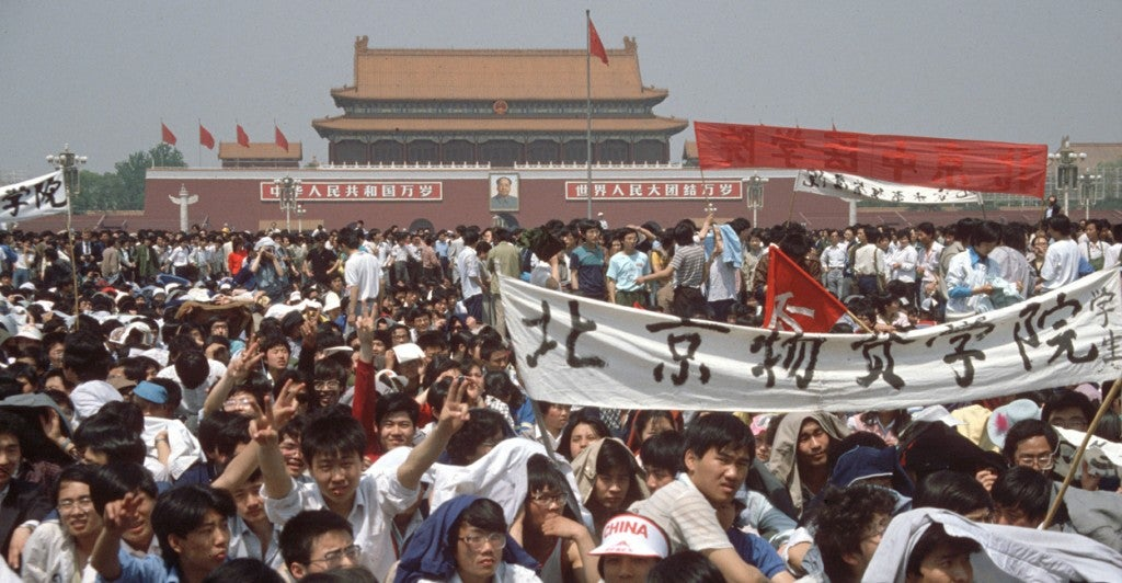 On May 19, 1989, protesting students gathered during a demonstration on Tiananmen Square in Bejing, China. 26 years ago, the protests widened in China's capital but were eventually beaten down violently. (Photo: Edgar Bauer/dpa/picture-alliance/Newscom)