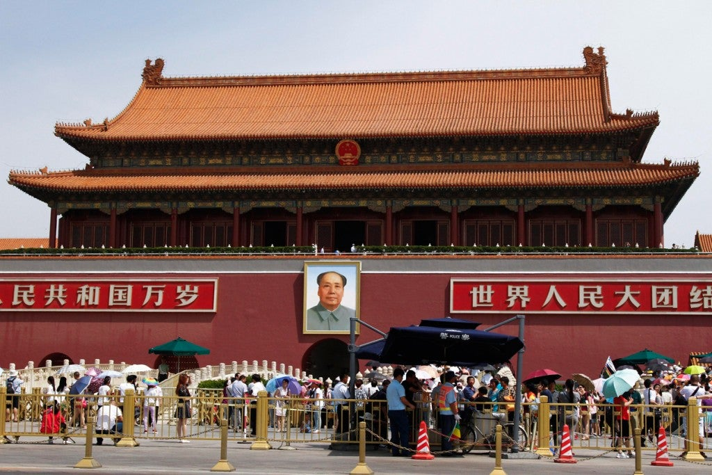 A Chinese police outpost is set up outside the Forbidden City across Tiananmen Square in Beijing, China, on June 3, 2015. On the 26th anniversary of the government crackdown on pro-democracy demonstrations, human rights groups have called for government accountability for violent actions against protesters on that day in 1989. (Photo: ROLEX DELA PENA/EPA/Newscom)