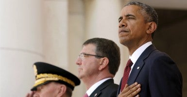 U.S. Defense Secretary Ash Carter and President Barack Obama. (Photo: Jonathan Ernest/Reuter/Newscom)