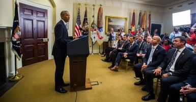 President Obama outlines changes to his administration's hostage policy in the Roosevelt Room of the White House. (Photo: Jim Lo Scalzo/EPA/Newscom)