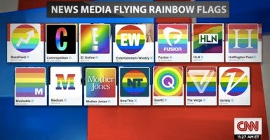 Several media organizations changed their logos to a rainbow flag after the Supreme Court's marriage decision. (Photo: CNN)