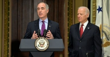 Sen. Bob Casey, D-Pa., and Vice President Joe Biden (Photo: Kevin Dietsch/UPI/Newscom)