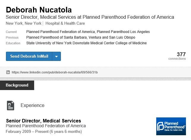 Screenshot of Deborah Nucatola's LinkedIn profile on 7/14/2015.