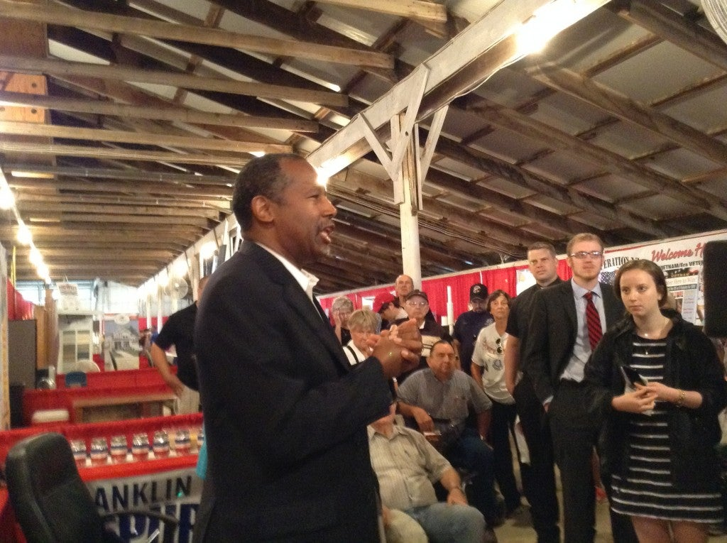 Ben Carson spoke in Iowa to Franklin County Fair goers  Thursday morning. (Photo: Leah Jessen/The Daily Signal)