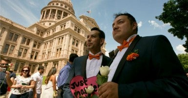 On July 4, 2015, several same-sex couples were married on the lawn of the Texas Capitol building in Austin. (Photo: Marjorie Kamys Cotera/Polaris/Newscom)