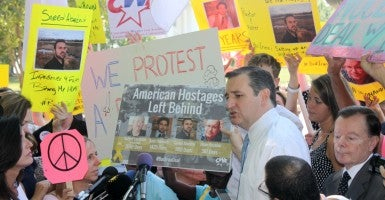 Sen. Ted Cruz speaks of the prisoners held in Iran and their length of imprisonment. (Photo: Samantha Reinis/The Daily Signal)