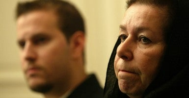 Christine Levinson, wife of ex-FBI agent Robert Levinson who disappeared in Iran, and her son Daniel attend a press conference at the Swiss embassy in Tehran, Iran. (Photo: Mohammad Khierkhah/UPI/Newscom)