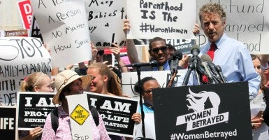 On Tuesday, many spoke out against Planned Parenthood at a #WomenBetrayed rally outside the Capitol. (Photo: Samantha Reinis/The Daily Signal)