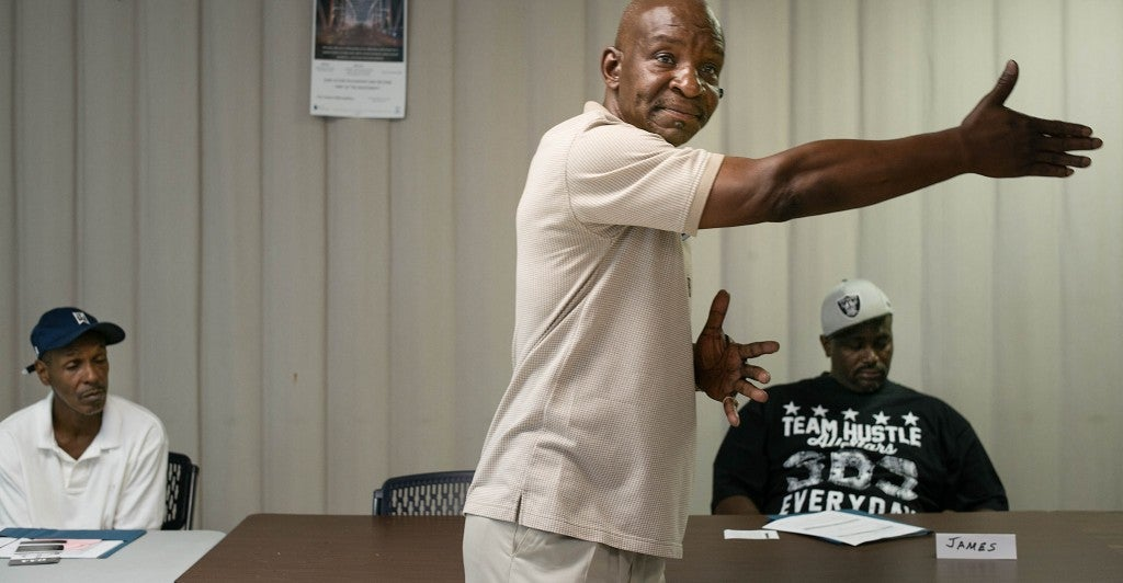 Lawrence Posey, who served 31 years of a life sentence for attempted murder, tries to connect with inmates on a personal level. (Photo: Bob Miller for The Daily Signal)