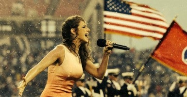 "Janine ""National Anthem Girl"" Stange sang the anthem 24 times in 24 hours over the weekend. (Photo: Janine Stange/Facebook)"