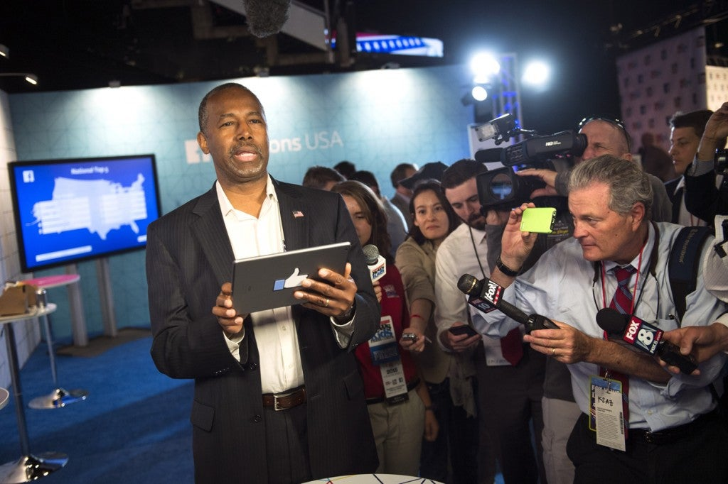 Dr. Ben Carson participates in a Facebook question-and-answer forum prior to the presidential debate. (Photo: Kevin Dietsch/UPI/Newscom)