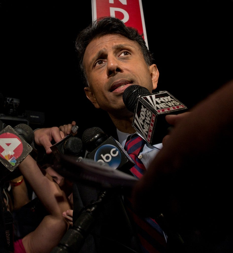 Louisiana Gov. Bobby Jindal answers questions in the spin room at the Quicken Loans Arena. (Photo: Brian Cahn/ZUMA Press/Newscom)
