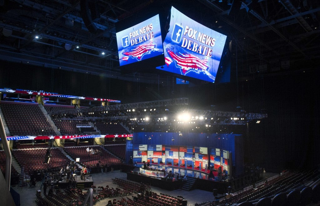 The debate stage prior to the Republican presidential debate. (Photo: Kevin Dietsch/UPI/Newscom)