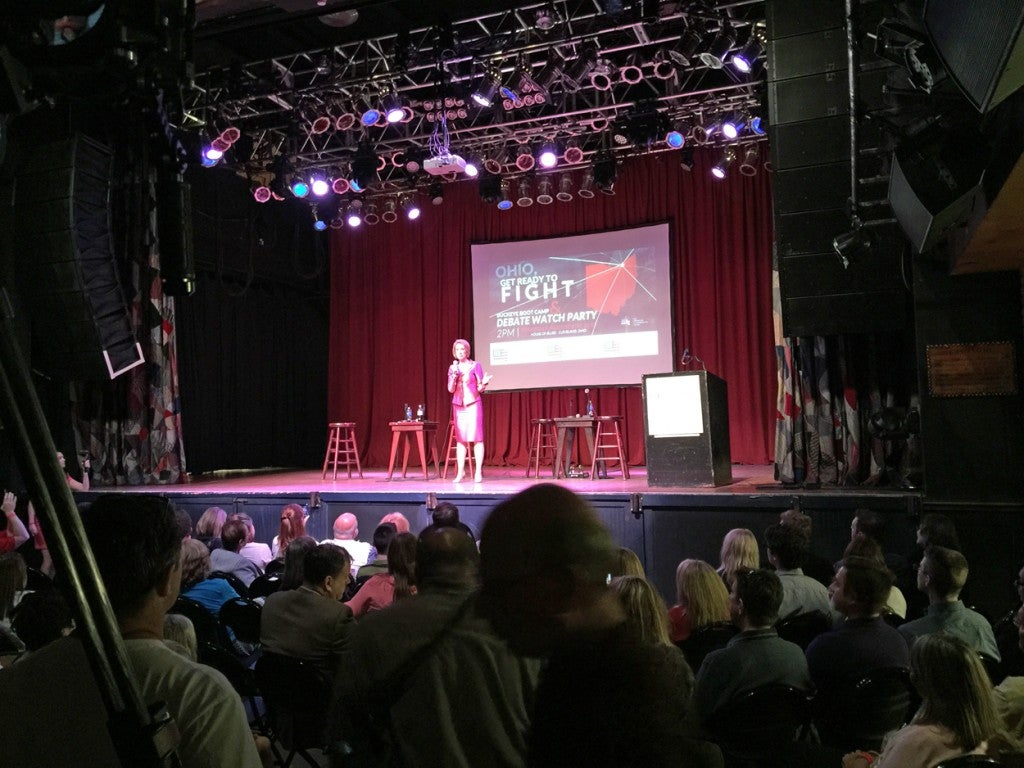 The American Conservative Union and Voter Gravity hosted a debate watch party at House of Blues in downtown Cleveland, which included appearances by candidates like Carly Fiorina. The Quicken Loans Arena is home to the Cleveland Cavaliers. (Photo: Rob Bluey/The Daily Signal)