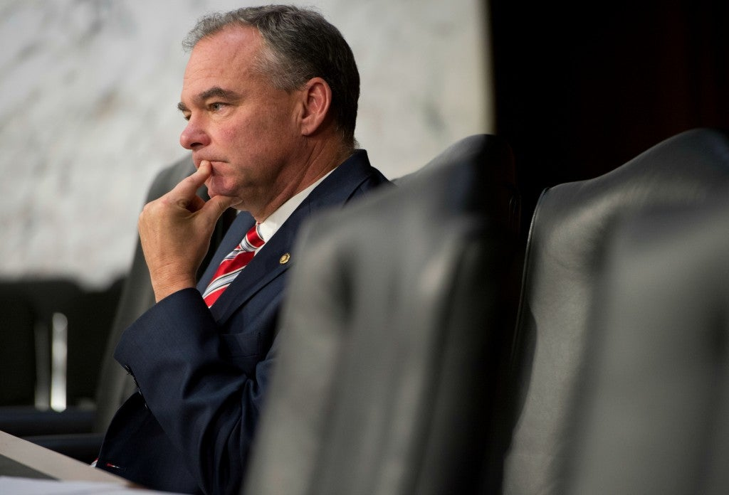 Sen. Tim Kaine offered a resolution for Congress to authorize the war against ISIS soon after Obama announced his military campaign, but the bill failed. (Photo: Tom Williams/CQ Roll Call/Newscom)